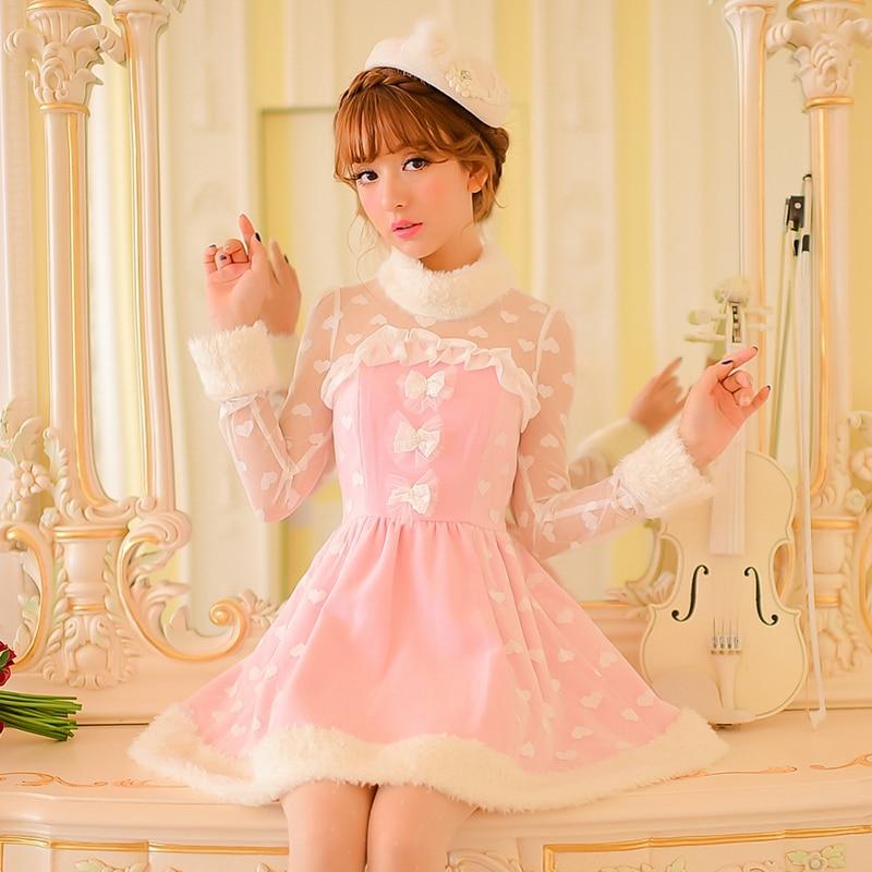 Princess sweet lolita pink dress Candy rain Bow lace decoration A line Round collar Nail Bead