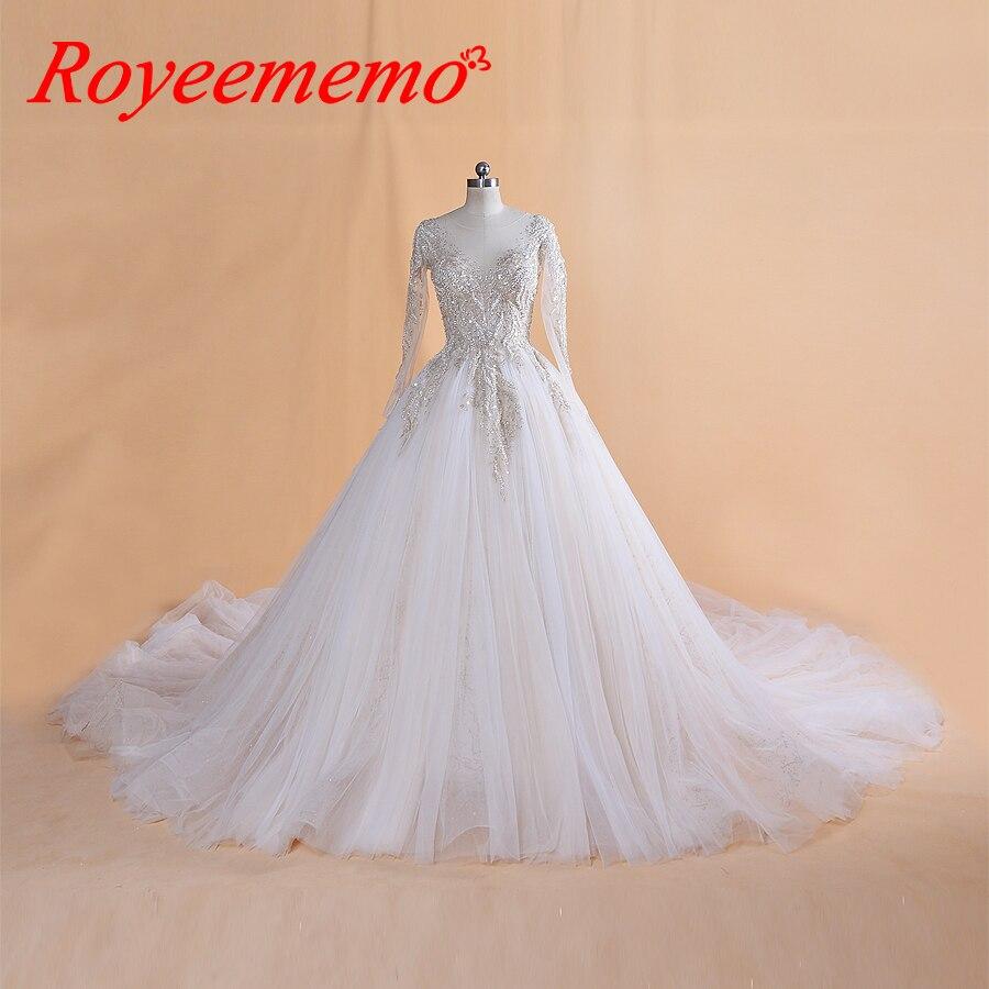 Mega Sale 2019 Design Luxurious Lace Wedding Dress Long Sleeves