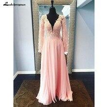 Розовые вечерние платья с длинными рукавами; большие размеры для матери Сдержанное платье невесты; vestido de madrinha
