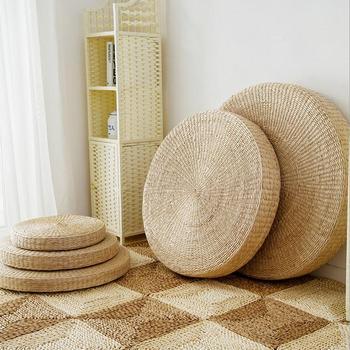 Puf Tatami redondo de paja Natural de 20cm de diámetro y 70cm de altura, cojines para el suelo, colchoneta redonda para Yoga y meditación, cojín para silla Zafu