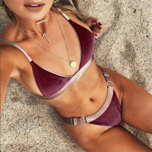 Fashion Womens Padded Push-up Bikini Set Hot 2019 Velvet Beach Swimsuit Bathing Suit Swimwear Beachwear
