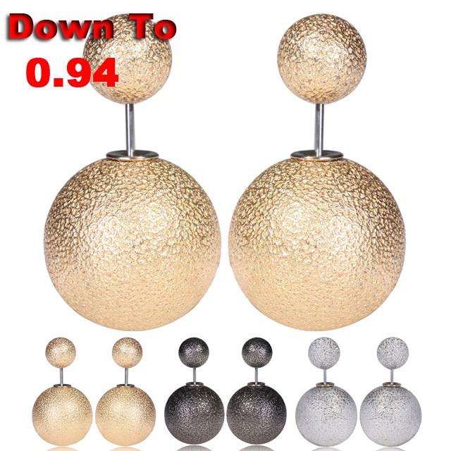 Clearance-2016-Ears-Double-Pearl-Earrings-With-Pearls-Sided-Matte-Stud-Earrings-Round-Earrings-Promotion-Bulk