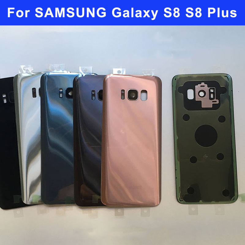 Glas Hinten Batteriefach Fall Für Samsung Galaxy S8 G950 S8 + S8Plus G955 S8 Plus Zurück Glas Gehäuse Cover + Kamera Glaslinse Rahmen