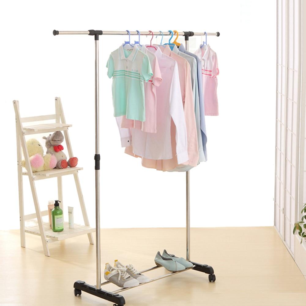 ikayaa us uk fr stock garment rack metal height adjustable clothes hanging rack width extendable clothes organizer clothes rack