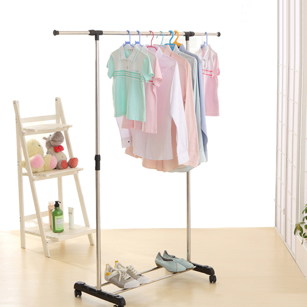 ikayaa us uk fr stock garment rack metal height adjustable clothes hanging rack width extendable clothes