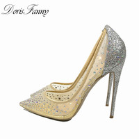 DorisFanny Silver Bling Fashion Design Women S High Heel Pumps Summer Style See Through Stiletto Shoes
