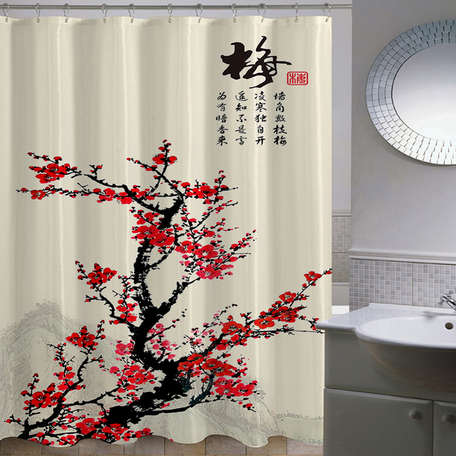 Delicieux Polyester Shower Curtains Traditional Chinese Ink Painting Calligraphy 3D  Waterfall Scenery Waterproof Bathroom Cortina De Bano