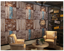 beibehang Vintage wall paper stereo hot pot papel de parede retro nostalgic English letters American industrial wind wallpaper