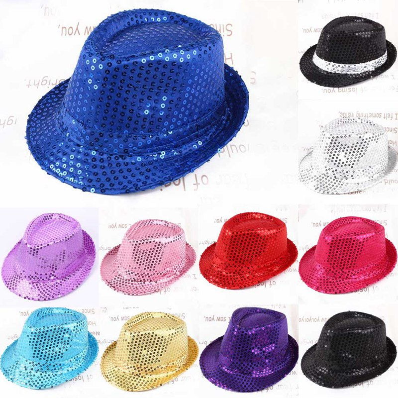 Fashion Adult Unisex Brilliant Glitter Sequins Hat Dance Show Party Jazz Hat Cap Show Stage props Beading Caps Fedoras