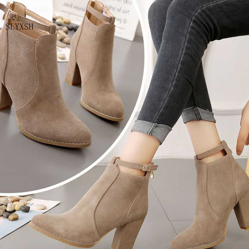 SLYXSH Women Shoes New Autumn Winter Fashion Woman Boots High Heels women Leather Ankle Boots Sexy Pointed Toe Boot