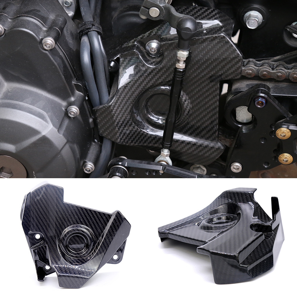 Motorcycle Accessories Carbon Fiber Engine Sprocket Chain Case Cover Clutch Cover For Yamaha MT09 FZ09 Tracer FJ09 2014-2017