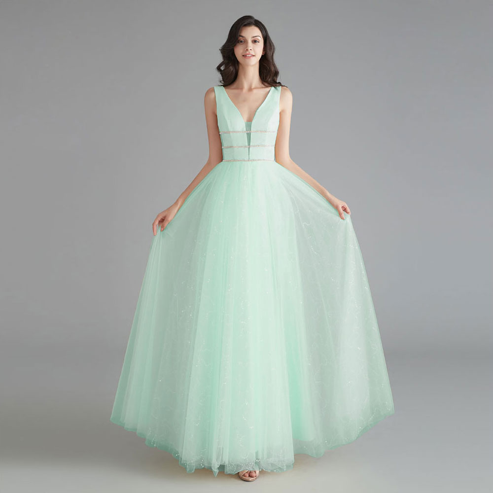 2019 Sweet lady Evening Dresses Long Stage Ceremony Dress New Year Formal Party Dress Sequined Deep V neck Gown Vestido De Noiva in Evening Dresses from Weddings Events
