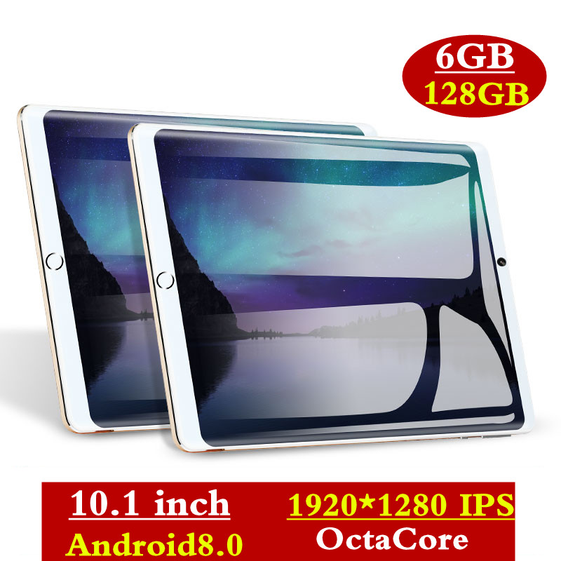 Super Tempered 2.5D Glass 10.1 Inch Tablet Android 8.0 Octa Core 6GB RAM 128GB ROM 8 Cores 1920*1280 IPS Screen Tablets 10.1