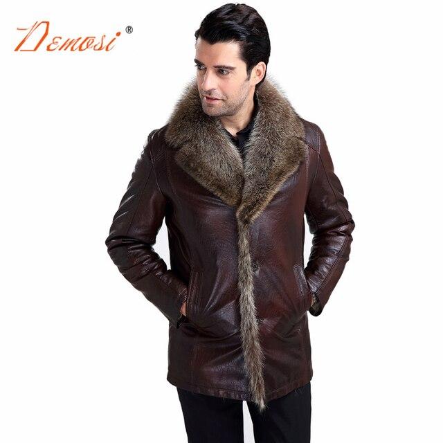 2017-18 Hiver vestes en cuir hommes moto raton laveur col de fourrure  véritable fourrure