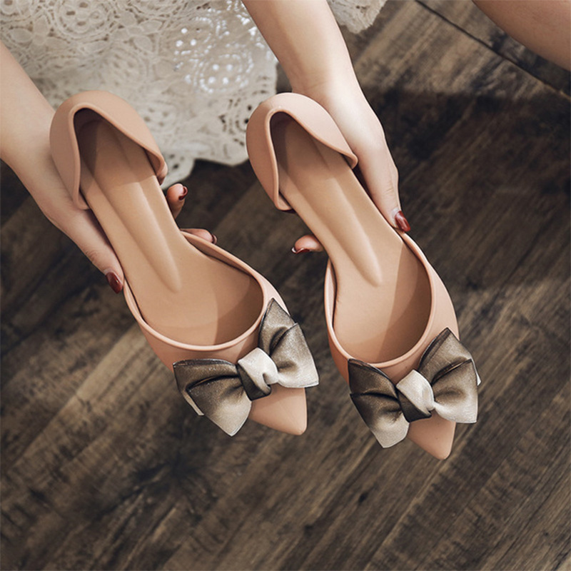 Women Shoes Bowtie Two Piece Slip On Pumps Ladies Pointed Toe Shallow Jelly Shoes Mid Heel Comfortable Female Footwear Summer