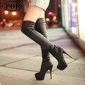 Hot 2016 Primavera Outono Mulheres Botas Sexy Fundo Vermelho Alta Mulheres de Longo Bota Sobre o joelho Plataforma saltos Sapatas Das Mulheres KJG00009568