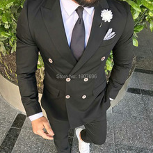 Double Breasted Black Wedding Men Suits 2019 Two Piece Slim Fit Blazer Jacket Pants Peaked Lapel Custom Made Groom Tuxedos custom made men suits fashion groom suits tuxedos black lapel single breasted men wedding suits tuxedos groomsman suits jacket