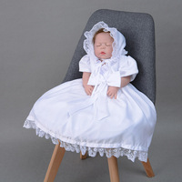 Christening Dress hat 2 pcs set Baby Girl Baptism Gown Birthday Party Lace White Ivory Satin 2018 Costumes outfit half sleeves