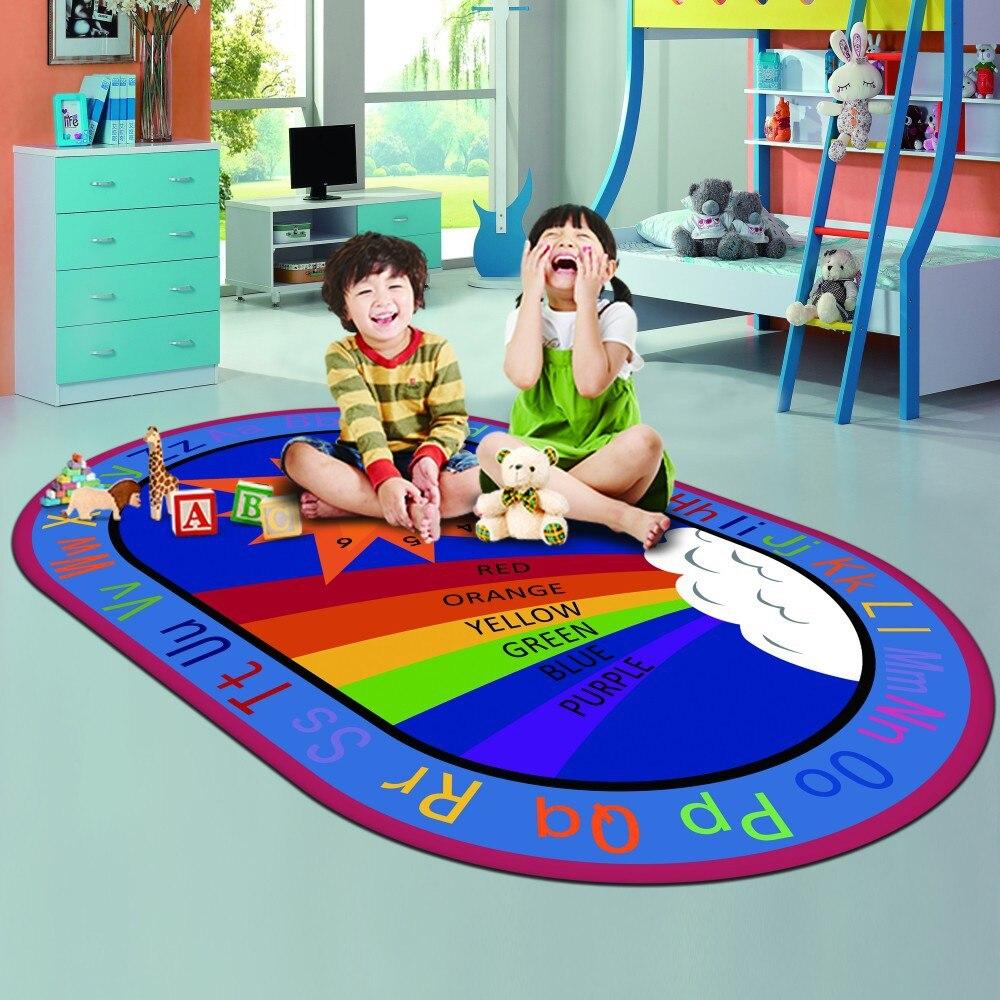 Puzzle pour enfants apprentissage tapis rampant flanelle doux enfant bébé tapis rampant paillasson Alphabet couleur motif tapis antidérapant