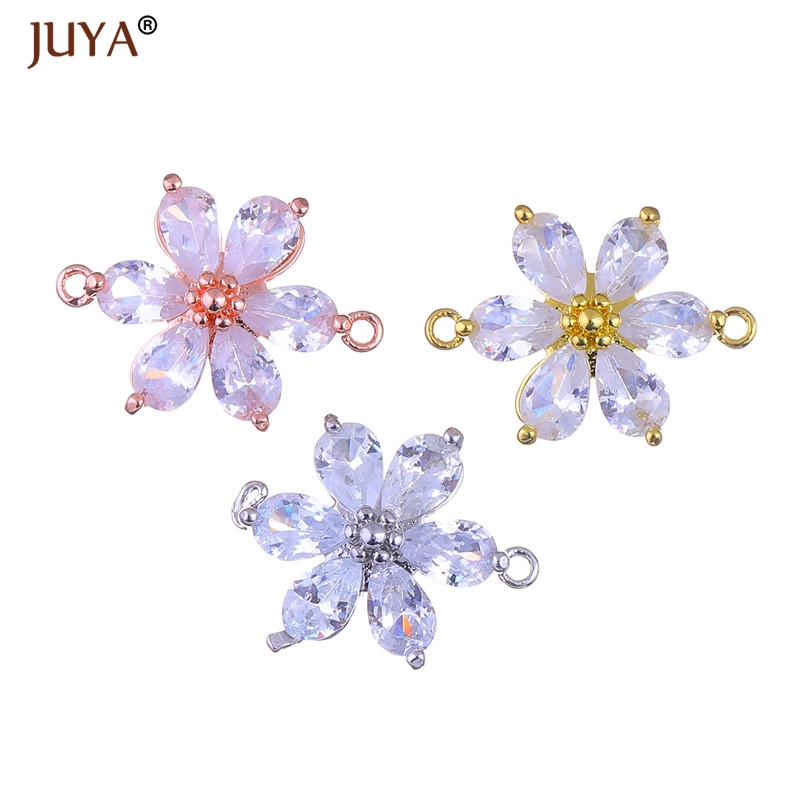Supplies for jewelry hand made flower crystal charm pendant connectors for diy earrings br
