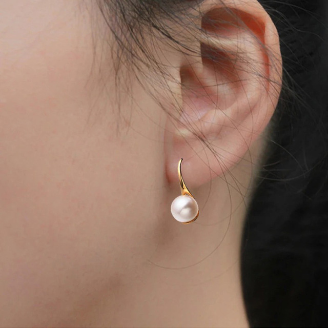 AINUOSHI Fashion Natural Freshwater Pearl 7.5-8mm Round Pearl Earrings 18K Rose Gold Women Ear Hook Earrings Wedding Jewelry