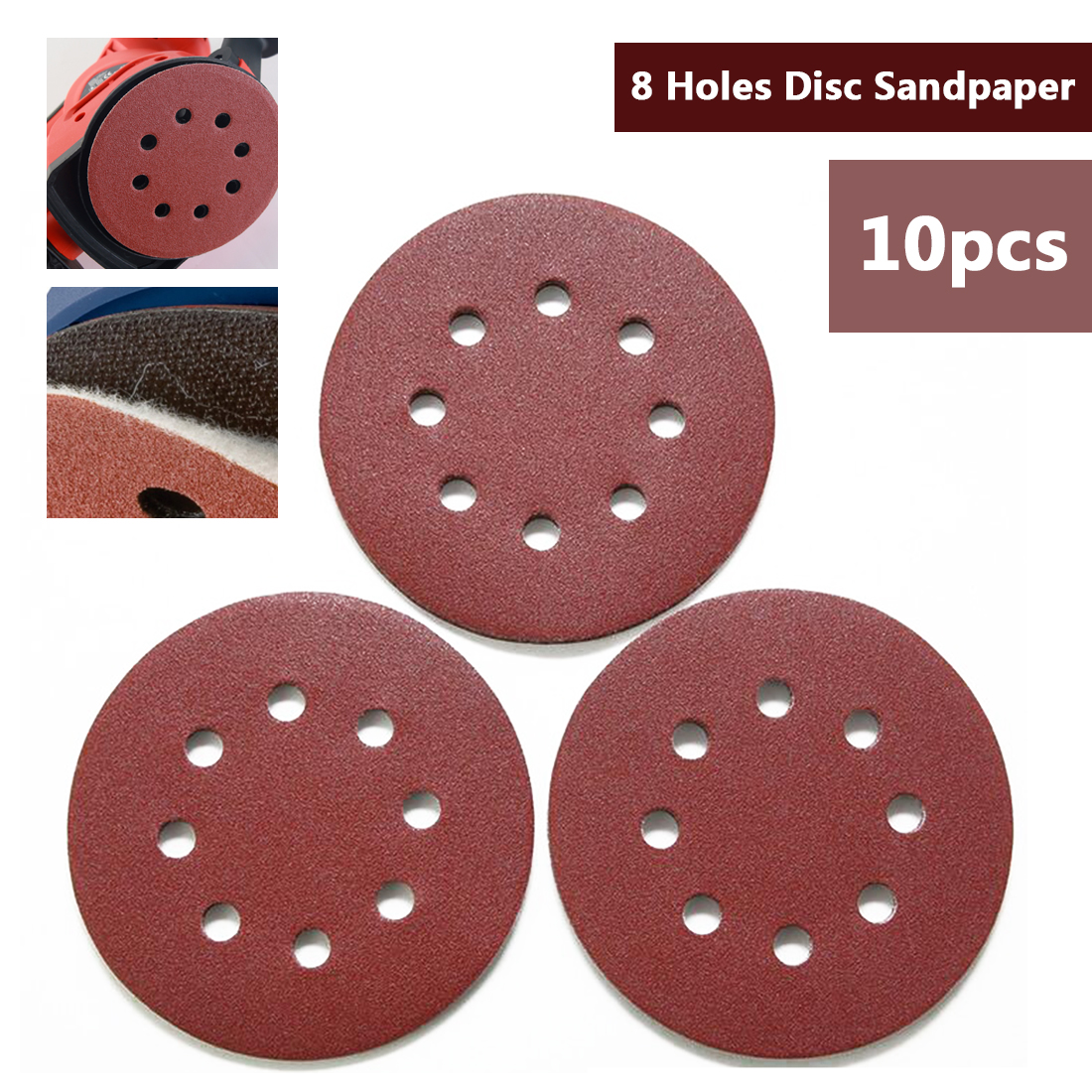 10pcs 8 Hole Sandpaper Pads Set 125mm 5