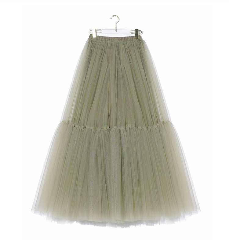f5745cad2dca ... Tulle skirt mesh tutu skirt for women girls luxury brand spring summer  2019 new olive green ...