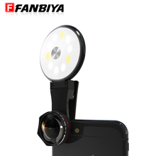 FANBIYA 3in 1 Fill Light Phone Lens LED Flash Ring Selfie for iphone 7 7plus Camera Clip 4K Wide Angle 15X Macro Lenses Android