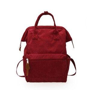 Image 5 - 2019 Kadife Sırt Çantaları Kadın Genç Kızlar Için Okul Çantaları Mochila Büyük Kapasiteli Rahat seyahat sırt çantaları Kadın Sırt Çantası