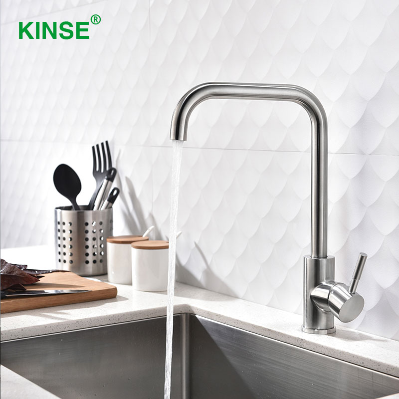 KINSE Stainless Single Hole Single Handle Faucets Brushed ...