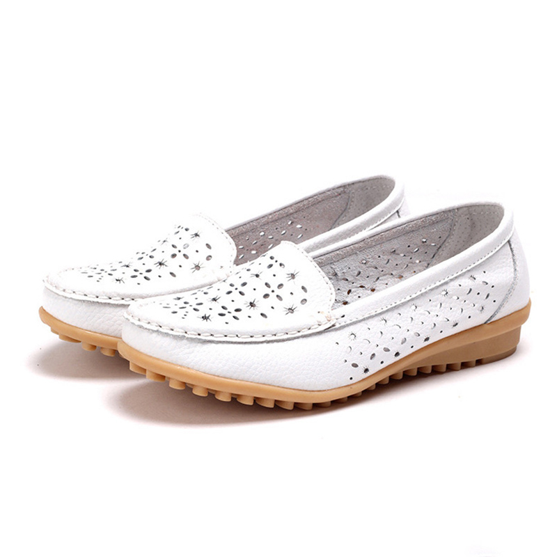 Summer Women Flats Shoes Ladies PU Leather Shoes Casual Cut-Outs Loafers Fashion Slip On Moccasins Breathable Flats Shoes DT918