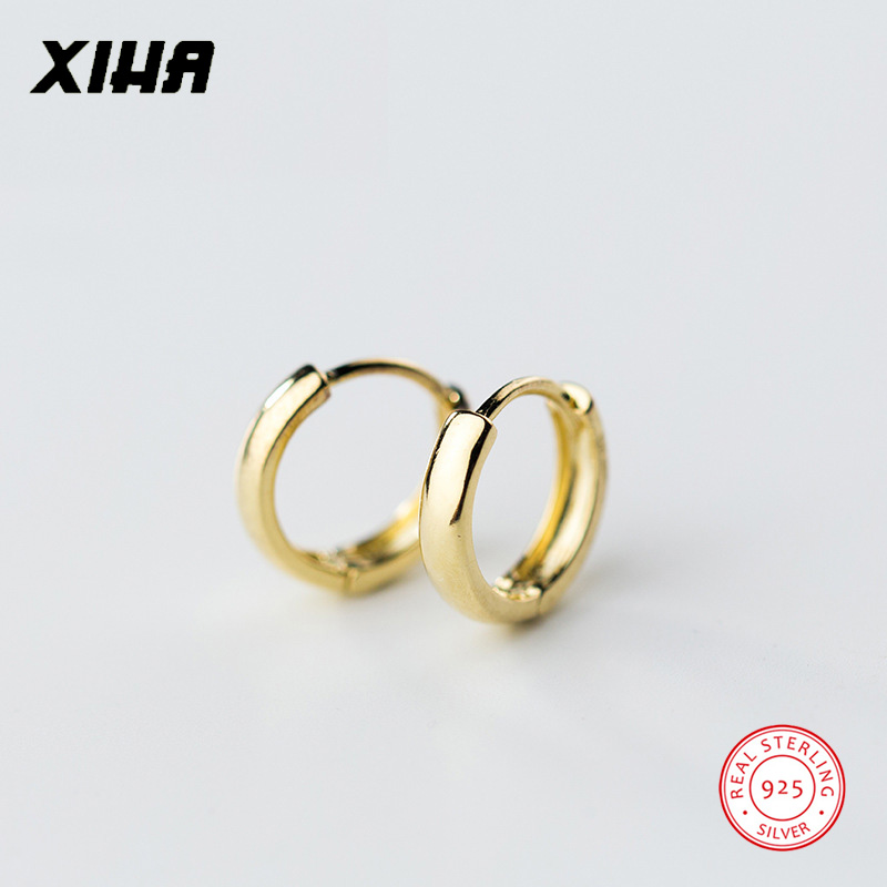 XIHA 100% Real 925 Sterling Silver Earrings for Women Simple Gold Color Round Small Hoop Earring Huggies Minimalist Jewelry
