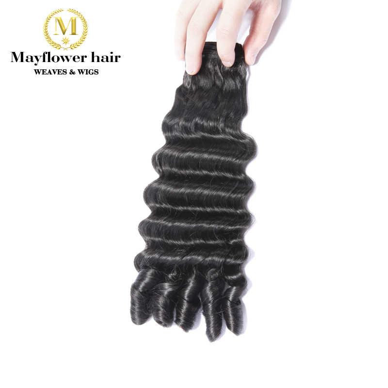 "Mayflower Funmi hair Rose curl 1/2/3 bundles mix length 10-18"" Natural black Double drawn Remy human hair Free shipping"