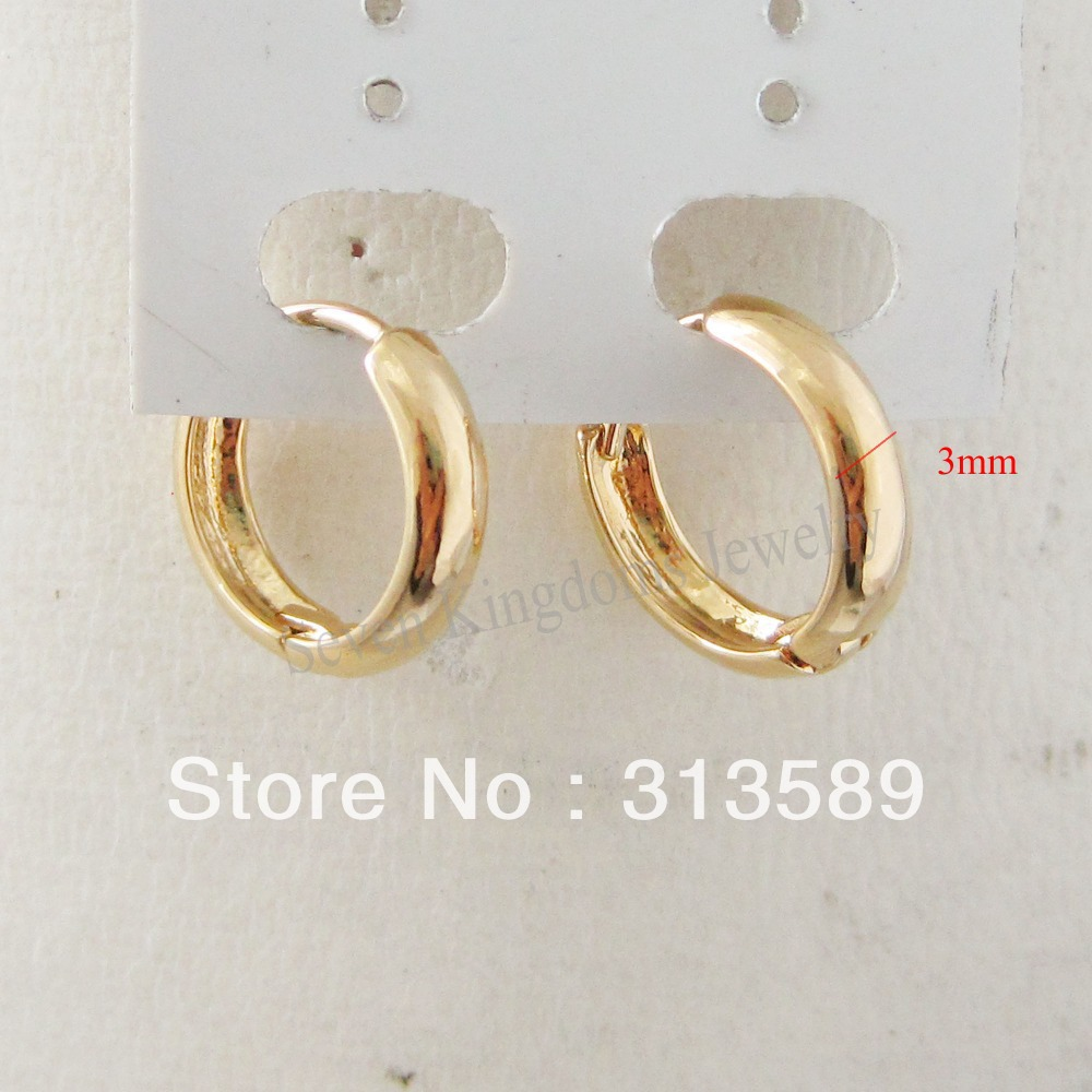 Min Order 10 Can Mix Design Cute Plain 24k Yellow Gold Gp Solid Filloverlay Huggie Hoop 0 47 12 Earring Great Gift In Earrings From Jewelry