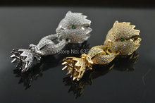 1 unid pavimentada circonita CZ beads cabeza del leopardo del encanto del collar de los corchetes highqualtiy DIY de la joyería de accesorios