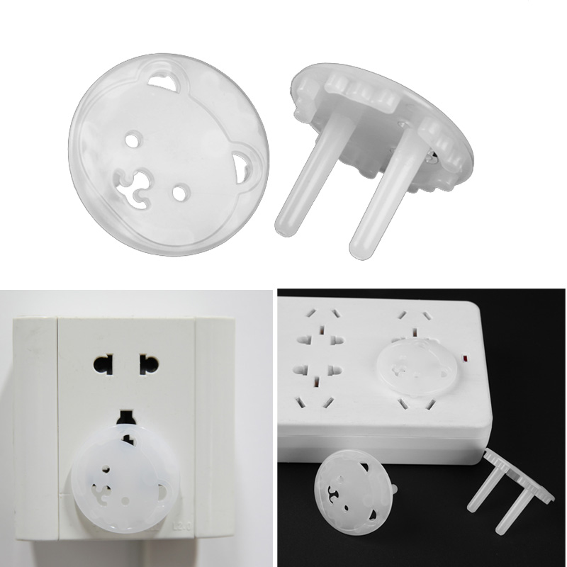 10pcs Bear EU Power Socket Electrical Outlet Baby Safety Protection From Children Anti Electric Shock Plugs Protector