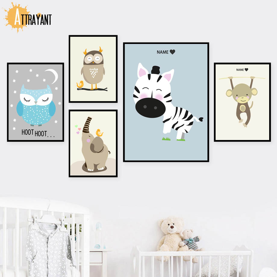 beste kopen uil aap zebra wall art canvas schilderij nordic posters en prints muur pictures for kids slaapkamer baby boy meisje kamer home decor goedkoop