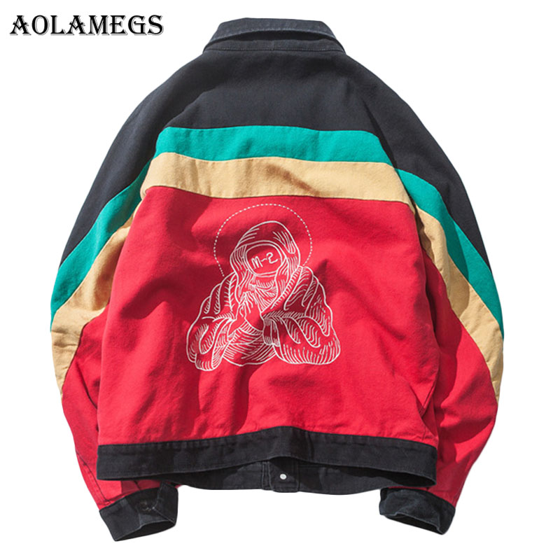Aolamegs Bomber Jacket  Men Patchwork Color Embroidery Men's Jacket Breasted Hip Hop Outwear Autumn Men Coat Bomb Windbreaker-in Jackets from Men's Clothing    1