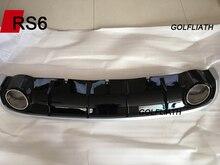 GOLFLIATH A6 To RS6 Styling bright black Rear Bumper Lip Diffuser For Audi standard sedan A6 2012-2015