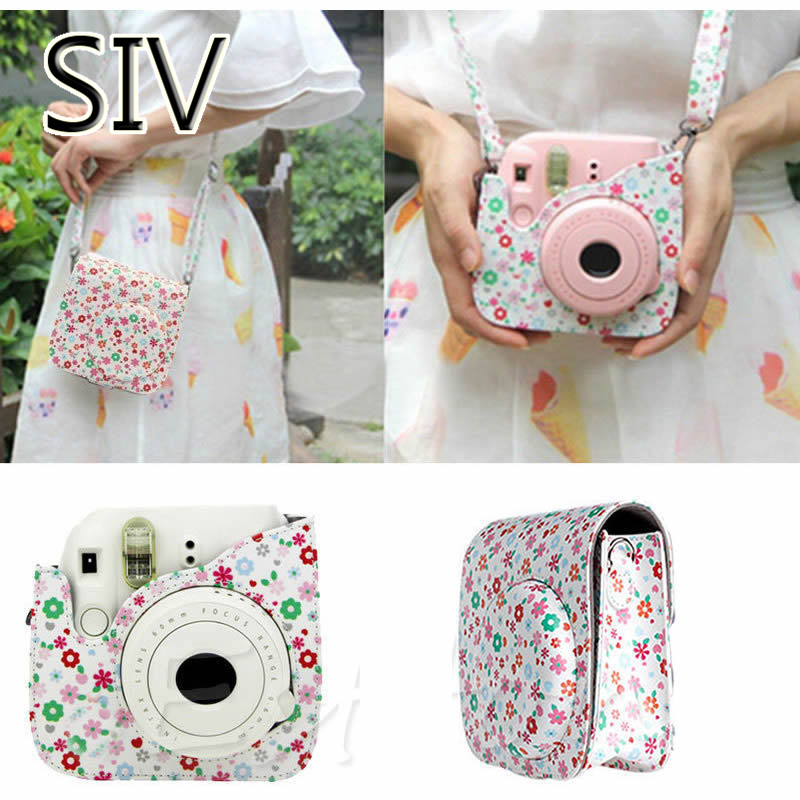 SIV Camera Bag Leather Camera Flower Case Bag Protector For Fujifilm Polaroid FOR Instax Mini8