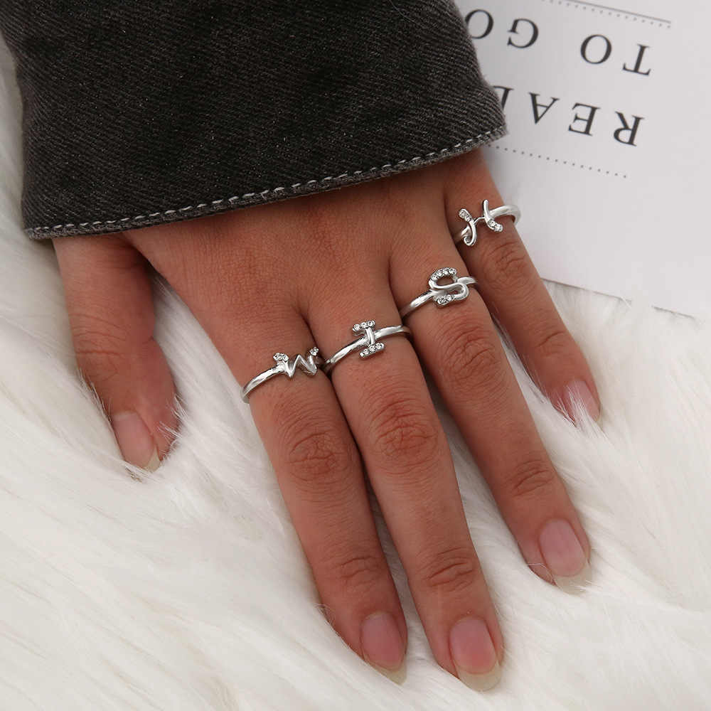 Minimalist เปิด Rose Gold Silver Rhinestone Knuckle A-Z Letter แหวน Minimalist เริ่มต้นแหวนผู้หญิงเครื่องประดับเริ่มต้น