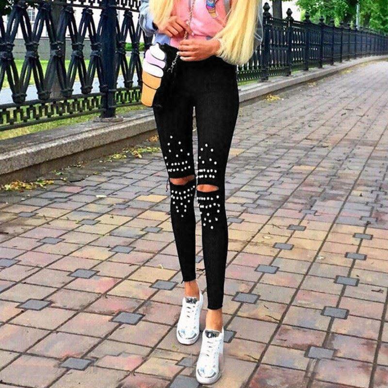 hot europe and america spring autumn knee hole pearl elastic   leggings