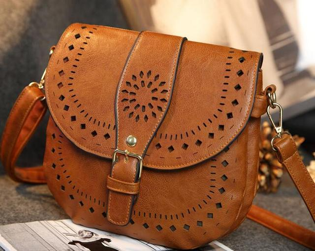 Women Bohemian Crossbody Bags Hollowed Patterns New 2017 Las Small Messenger Bag With Buckle Pu Leather