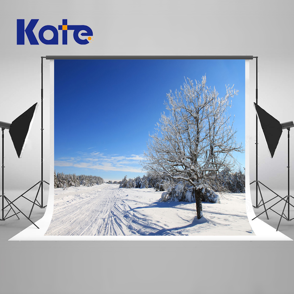 Kate Winter Snow Photography Backdrops Ice Trees Blue Sky Backgrounds For Photo Studio Scenic Microfiber Backdarops dunlop sp winter ice 02 205 65 r15 94t