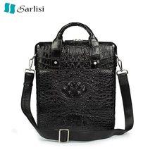 0be9cbe1dea59 Klasik tasarımcı hakiki timsah derisi timsah deri erkek siyah iş çanta erkek  adam tek çapraz omuz çantası
