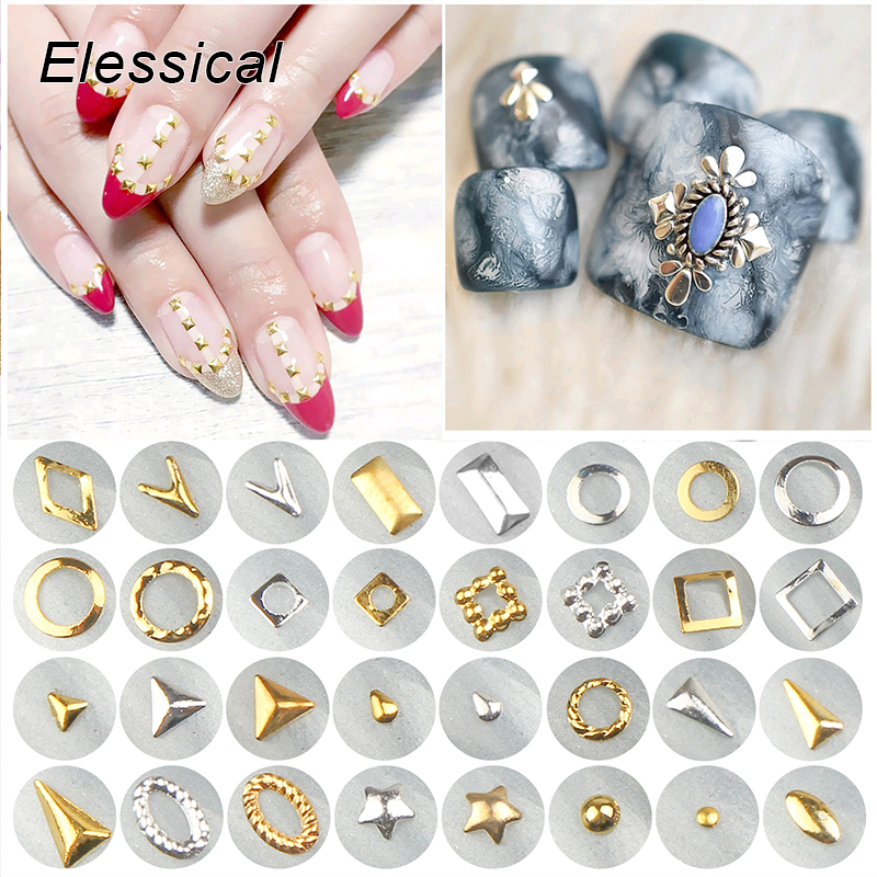 ELESSICAL 100pcs/bottle Gold Silver 3D Nail Art Decorations Geometric Alloy Nail Charm Stud DIY Manicure Tools Nail Rivet Supply diy 3d gold silver transparent mini caviar beads gel polish nail art tips charm metallic pearl ball pro manicure pedicure