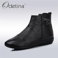 Odetina 2017 Genuine Leather Women Retro Ankle Boots Wedge Heel Winter Slip On Work Boots Zipper