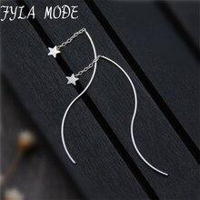 Fyla Mode Simple 925 Sterling Silver Cute Star Long Earrings For Women Fashion Jewelry Wholesale Ear Line Cute Gifts Bijoux