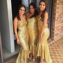 2017 Fashion High Low Shiny Gold Bridesmaid Dress Sweethear Sequins Sparkling Mermaid Party Gowns Vestidos de