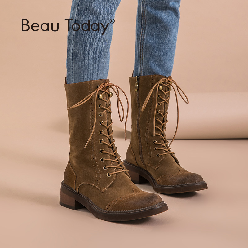 Brogue Boots Women BeauToday Brand Boot Mid Calf Good Quality Cow Suede Leather Handmade Autumn Winter